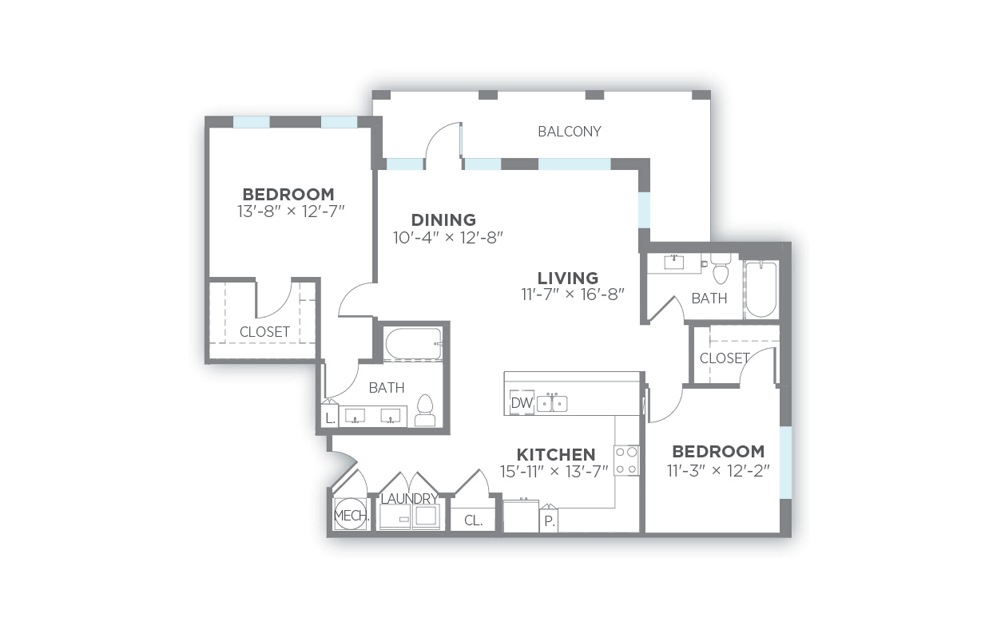 Dawn - 2 bedroom floorplan layout with 2 baths and 1313 to 1350 square feet. (2D)
