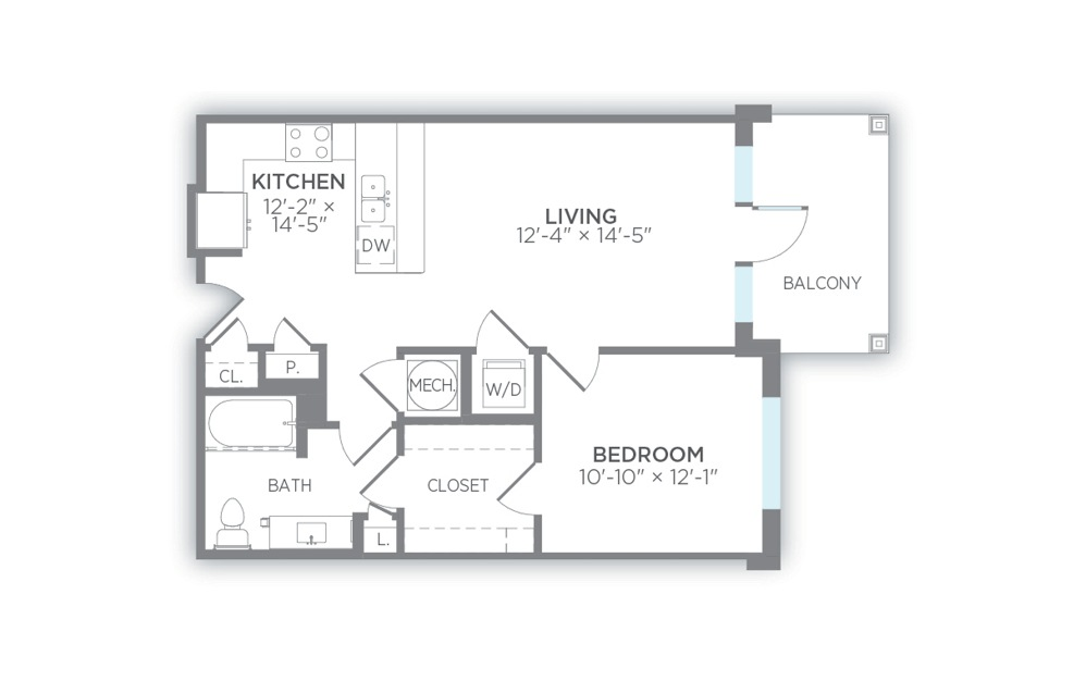 Latitude - 1 bedroom floorplan layout with 1 bath and 738 to 754 square feet. (2D)