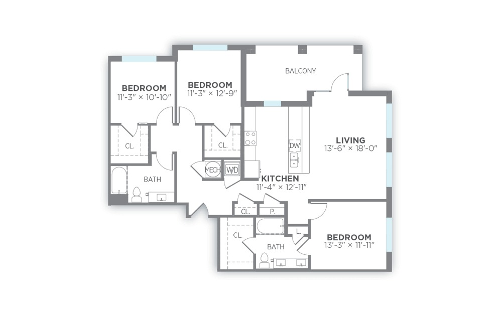 Radiance - 3 bedroom floorplan layout with 2 baths and 1499 to 1523 square feet. (2D)
