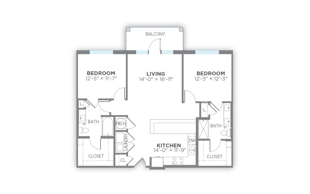 Ray - 2 bedroom floorplan layout with 2 baths and 1196 to 1312 square feet. (2D)